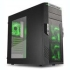 "Sharkoon T28 Mid-Tower Case - NO PSU, Black/Green 5.25"" Ext. Bay(2), 3.5"" Bay Int.(6), 3.5""/2.5"" Bay Int.(2), USB3.0(2), USB2.0(2), HD Audio, 120mm LED Front Fan(2), 120mm LED Rear Fan(1), ATX"
